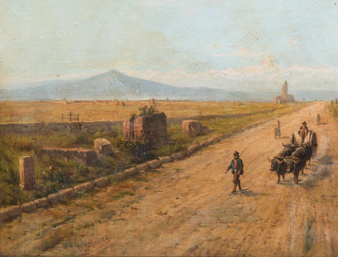 Signed Orientalist Landscape, Road to Damascus - 5