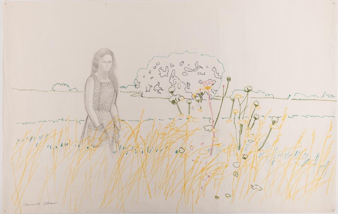 Carroll Cloar Drawing, Woman in Field