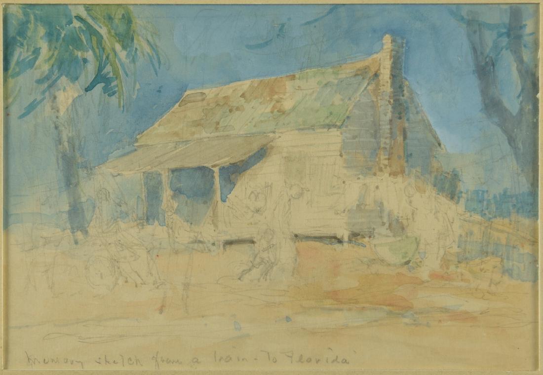 Everett Shinn Watercolor, Southern Landscape