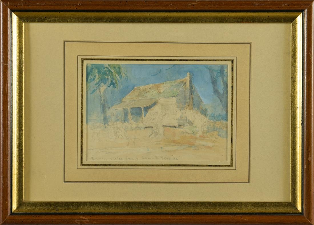 Everett Shinn Watercolor, Southern Landscape - 2