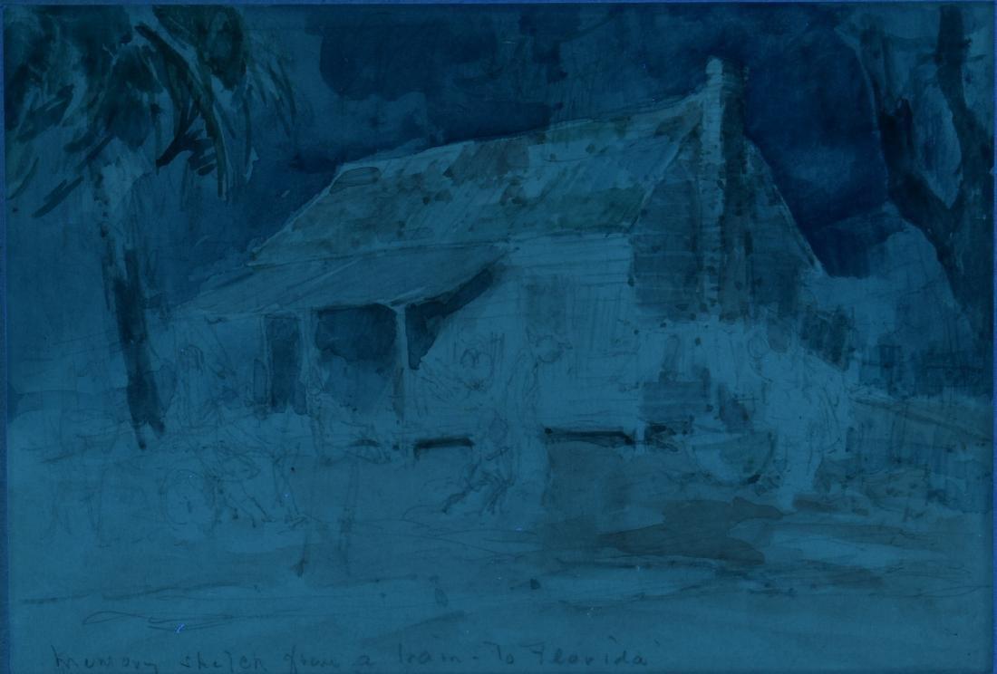Everett Shinn Watercolor, Southern Landscape - 7