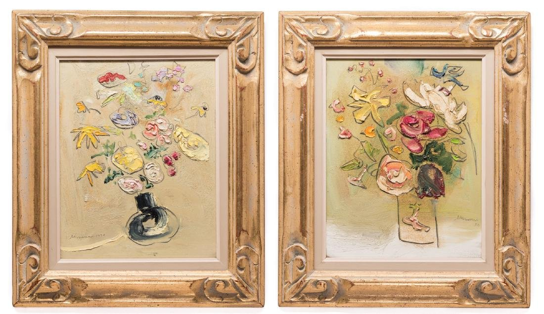 2 Sterling Strauser Floral Still Life Paintings, both