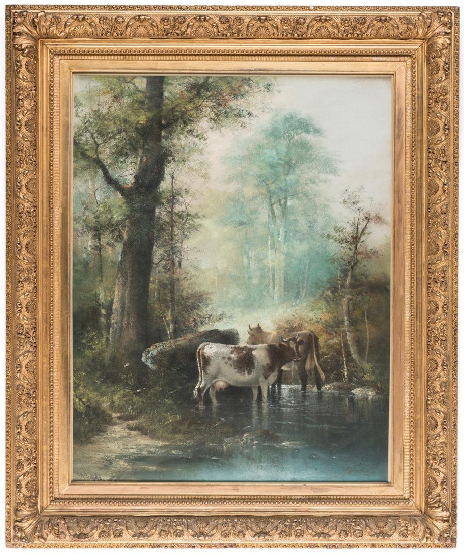 Catherine Nichols, Pastel Landscape with Cows