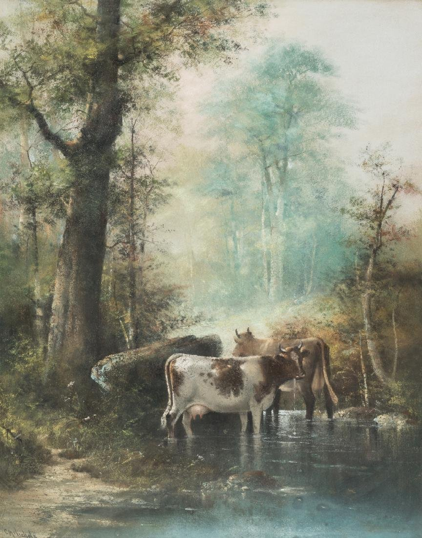 Catherine Nichols, Pastel Landscape with Cows - 2