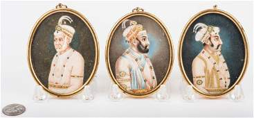 3 Oval Miniatures of Far East Indian Noblemen