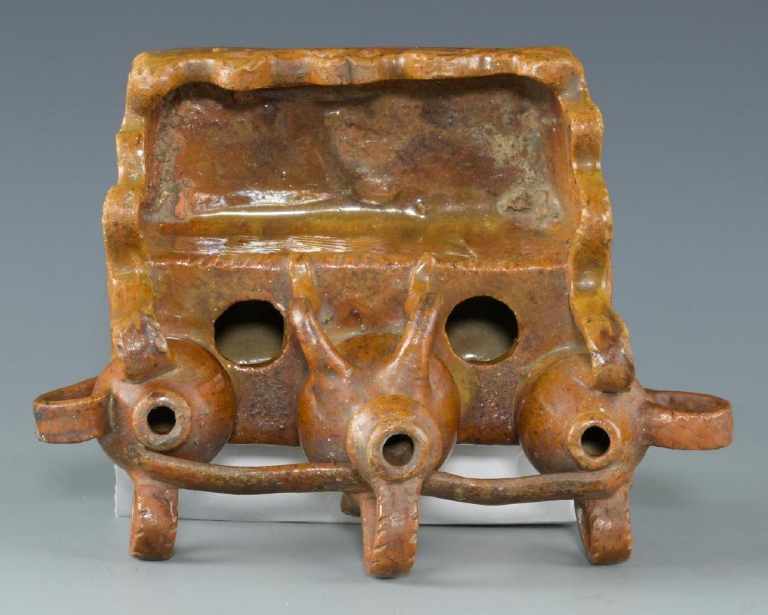 Folk Art Pottery Ink Well, possibly Southern - 9