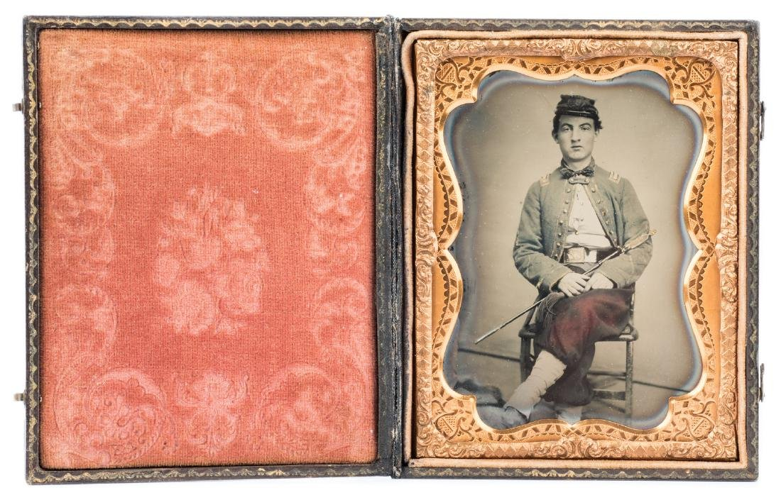 Confederate Zouave Ambrotype, Quarter Plate
