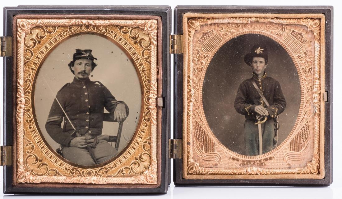 2 Civil War Union Tintypes, Patriotic Cases