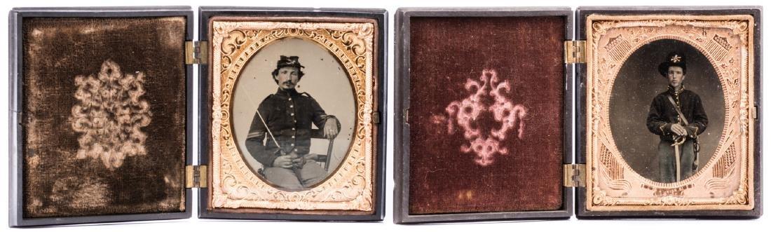 2 Civil War Union Tintypes, Patriotic Cases - 2