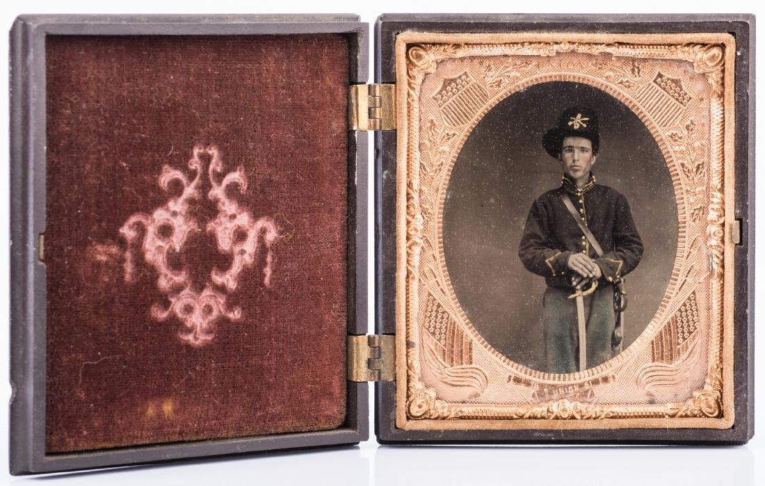 2 Civil War Union Tintypes, Patriotic Cases - 3