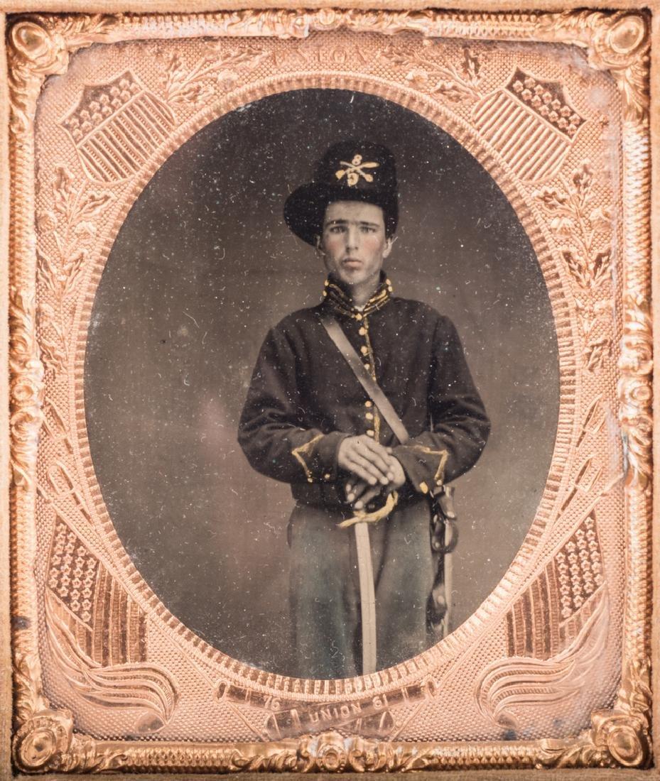 2 Civil War Union Tintypes, Patriotic Cases - 4
