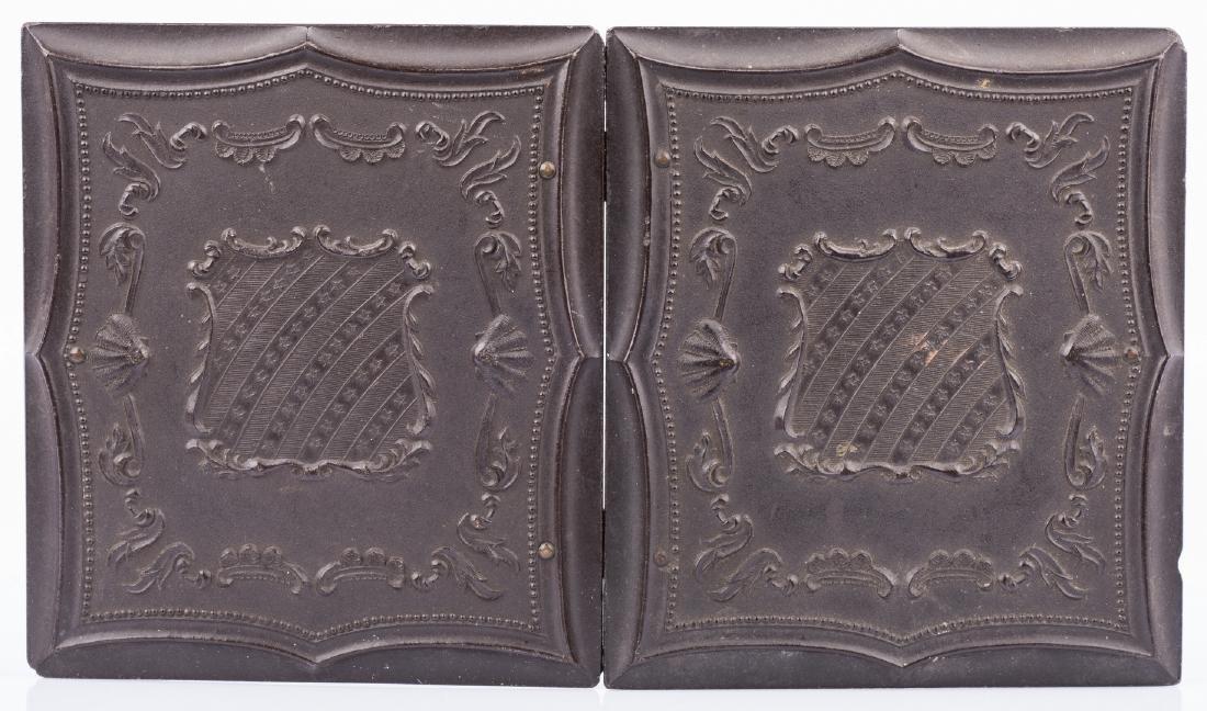 2 Civil War Union Tintypes, Patriotic Cases - 5