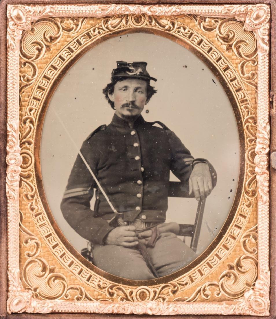 2 Civil War Union Tintypes, Patriotic Cases - 7