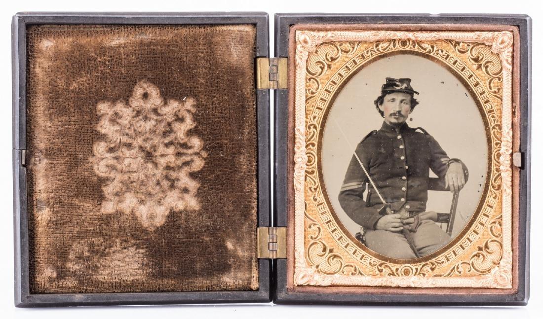 2 Civil War Union Tintypes, Patriotic Cases - 8