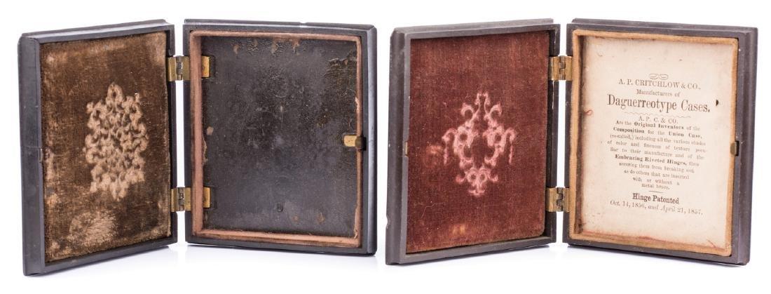 2 Civil War Union Tintypes, Patriotic Cases - 9