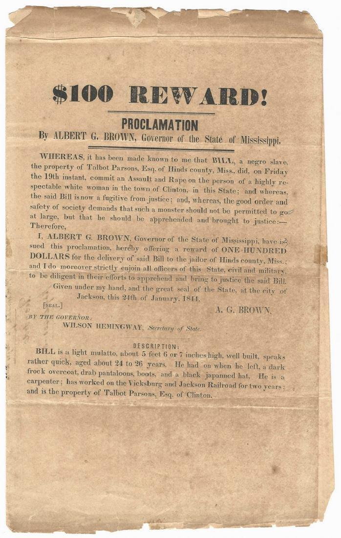 Mississippi Runaway Slave Broadside, dated 1844