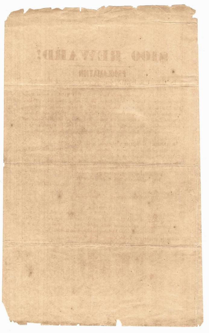 Mississippi Runaway Slave Broadside, dated 1844 - 2