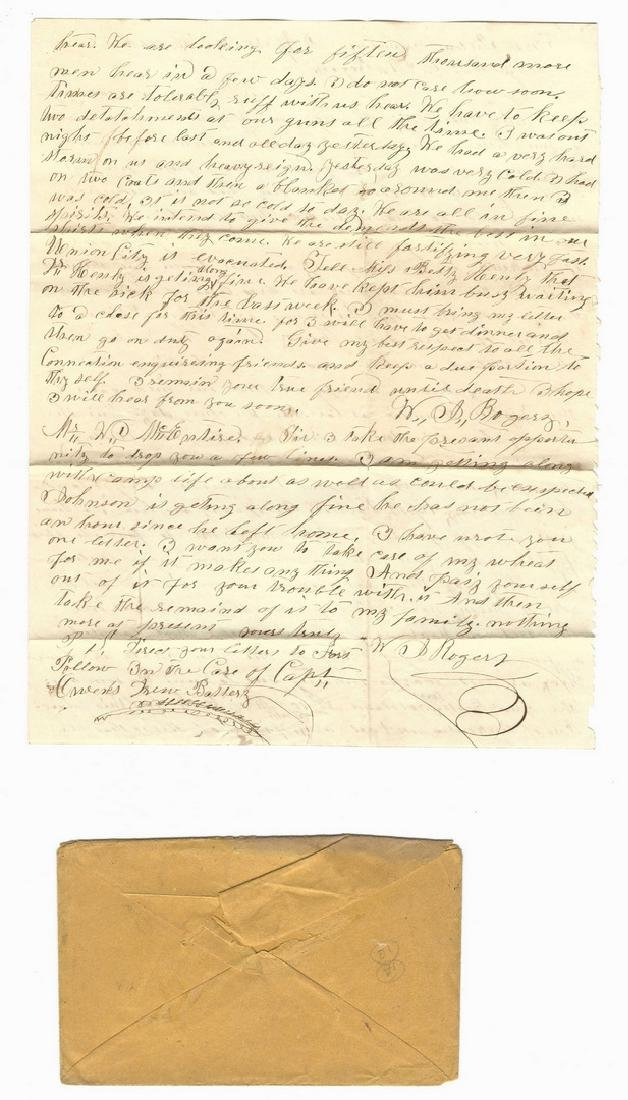 9 Civil War Confederate Letters, Cpl. W. J. Rogers, - 6