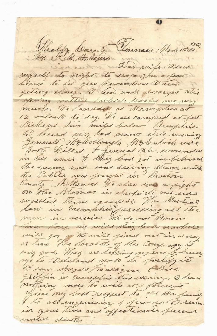 9 Civil War Confederate Letters, Cpl. W. J. Rogers, - 9
