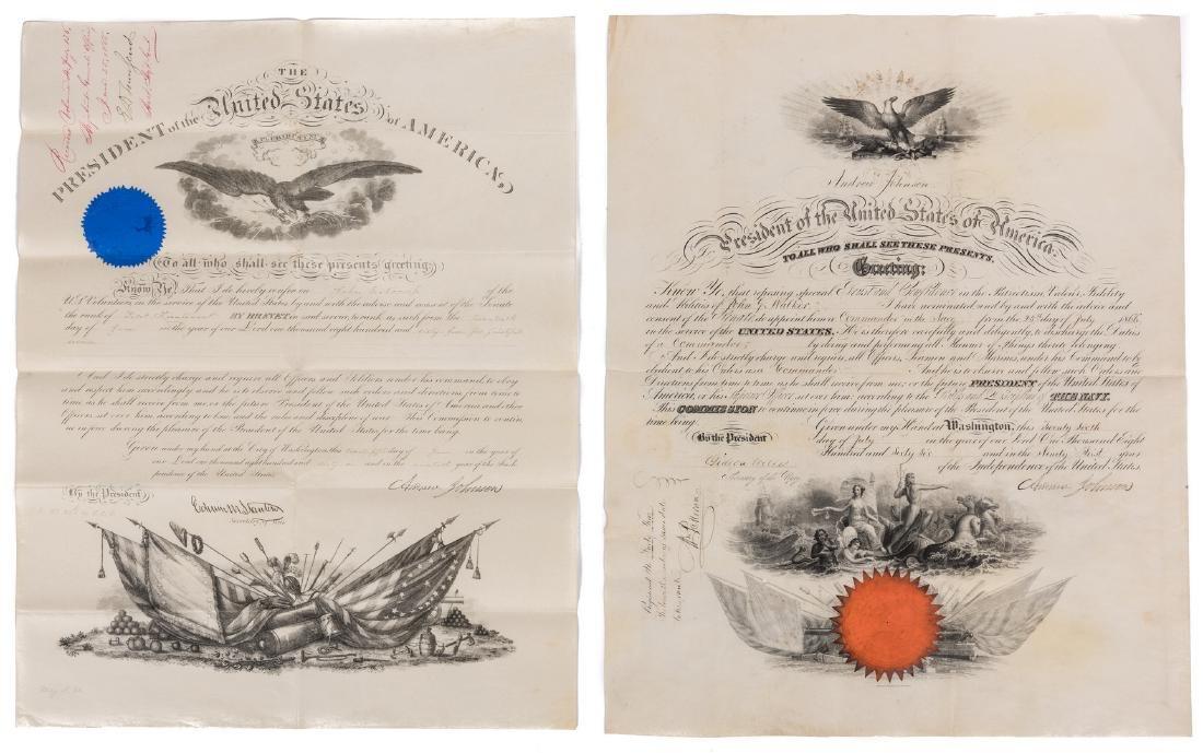 2 President Andrew Johnson War Commission Documents: