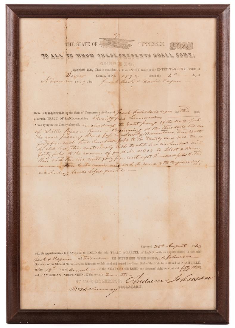 Andrew Johnson Signed Land Grant, 1853
