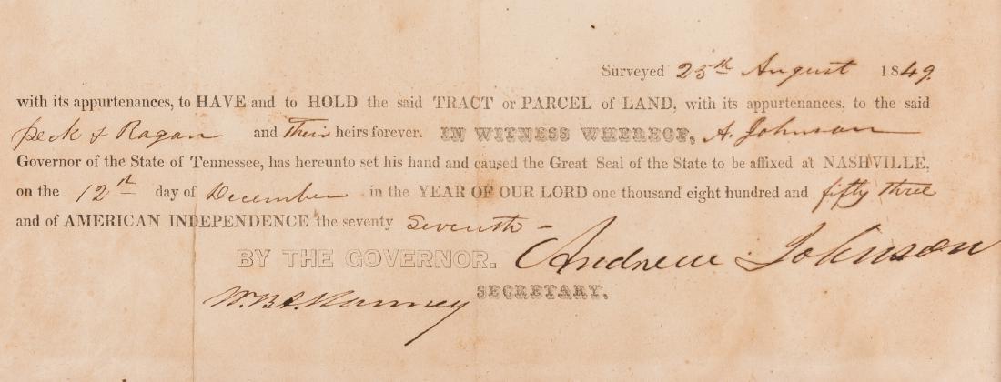 Andrew Johnson Signed Land Grant, 1853 - 3
