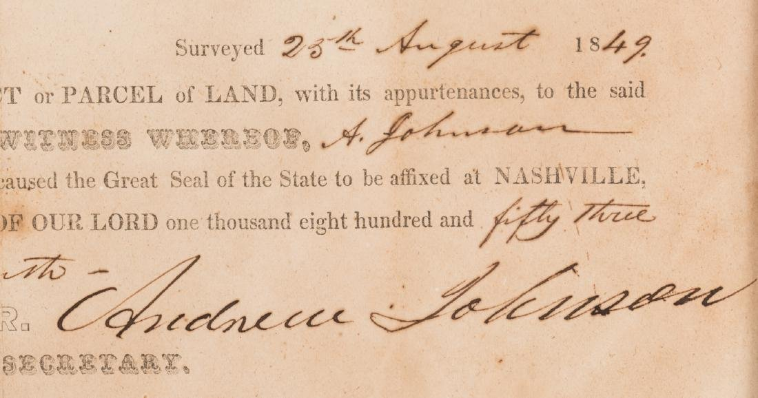 Andrew Johnson Signed Land Grant, 1853 - 4