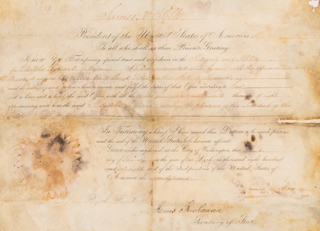 President Polk and Buchanan Signed Document, 1848