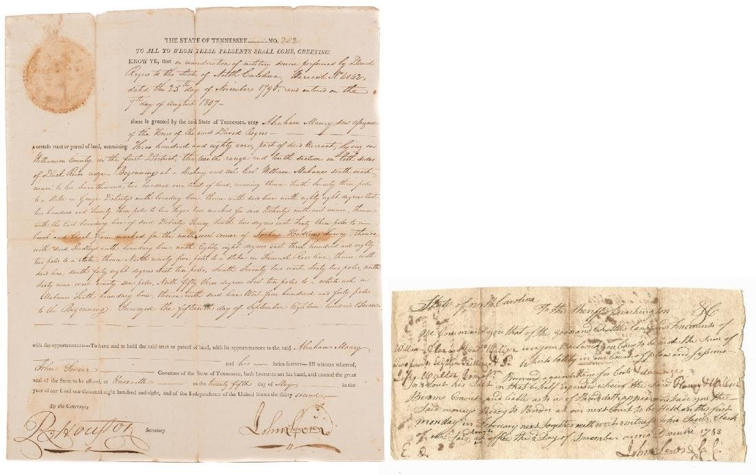 John Sevier Signed Land Grant & Sheriff Summons, 2