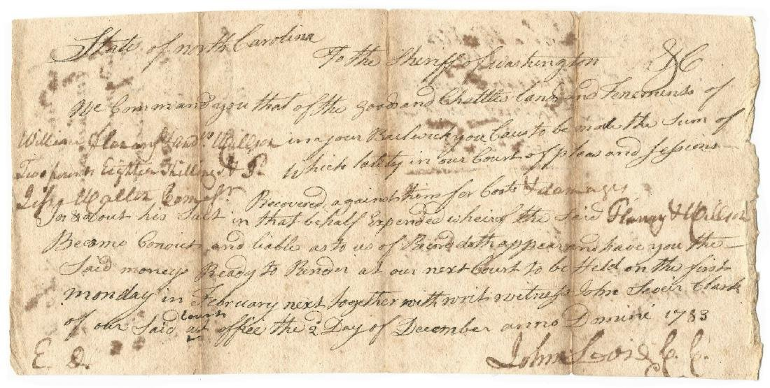 John Sevier Signed Land Grant & Sheriff Summons, 2 - 4