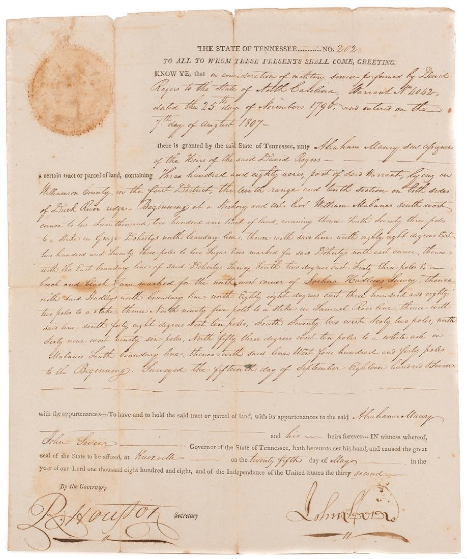 John Sevier Signed Land Grant & Sheriff Summons, 2 - 6