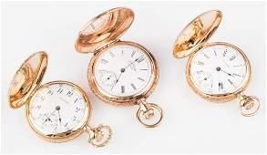 Three 14K AWC Ladies Hunter Watches