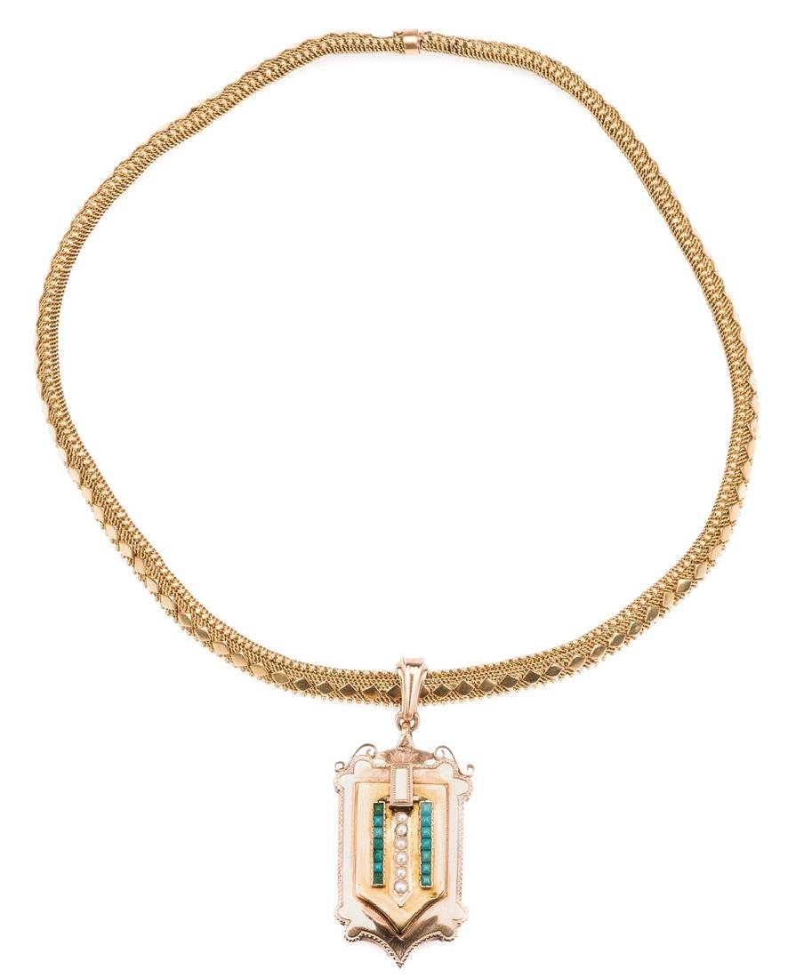 French 18k Victorian Gold Necklace, Locket