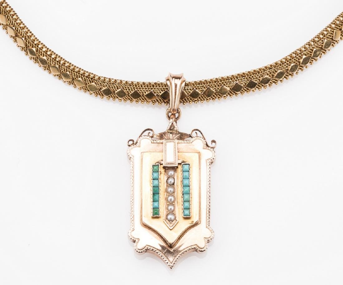 French 18k Victorian Gold Necklace, Locket - 2