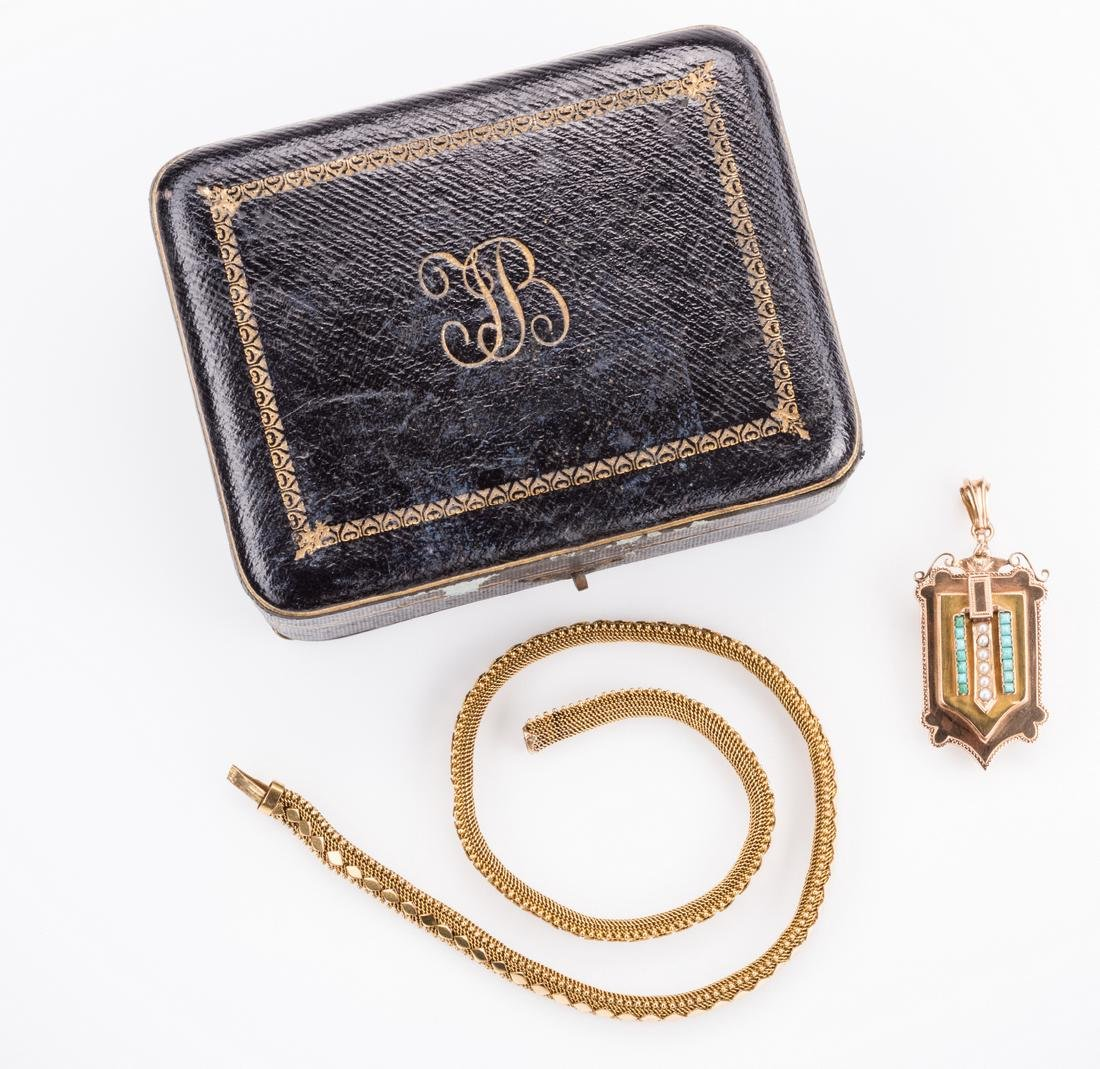 French 18k Victorian Gold Necklace, Locket - 3