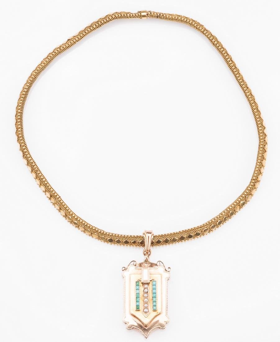 French 18k Victorian Gold Necklace, Locket - 7