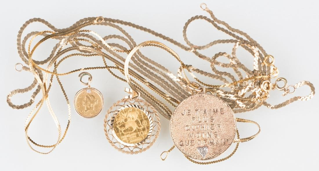 Group 14K Gold jewelry, 7 items inc.