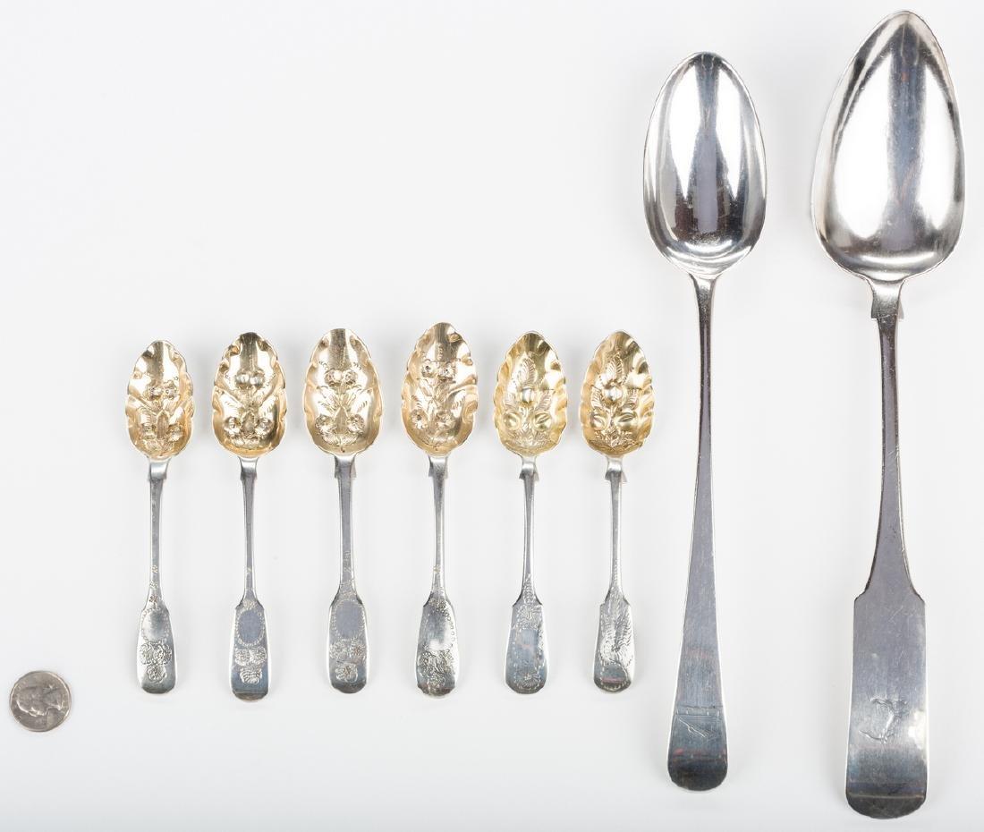 8 English silver spoons, inc. Hester Bateman