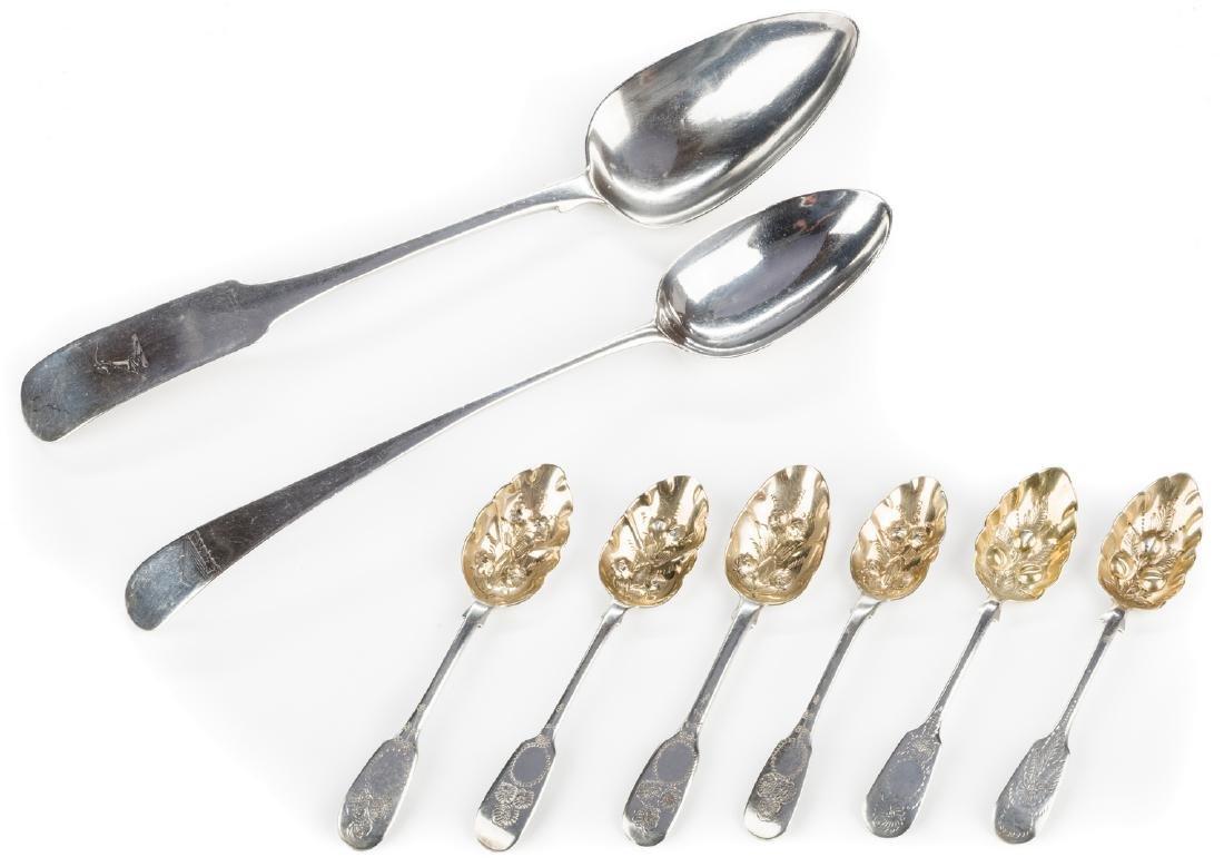 8 English silver spoons, inc. Hester Bateman - 2