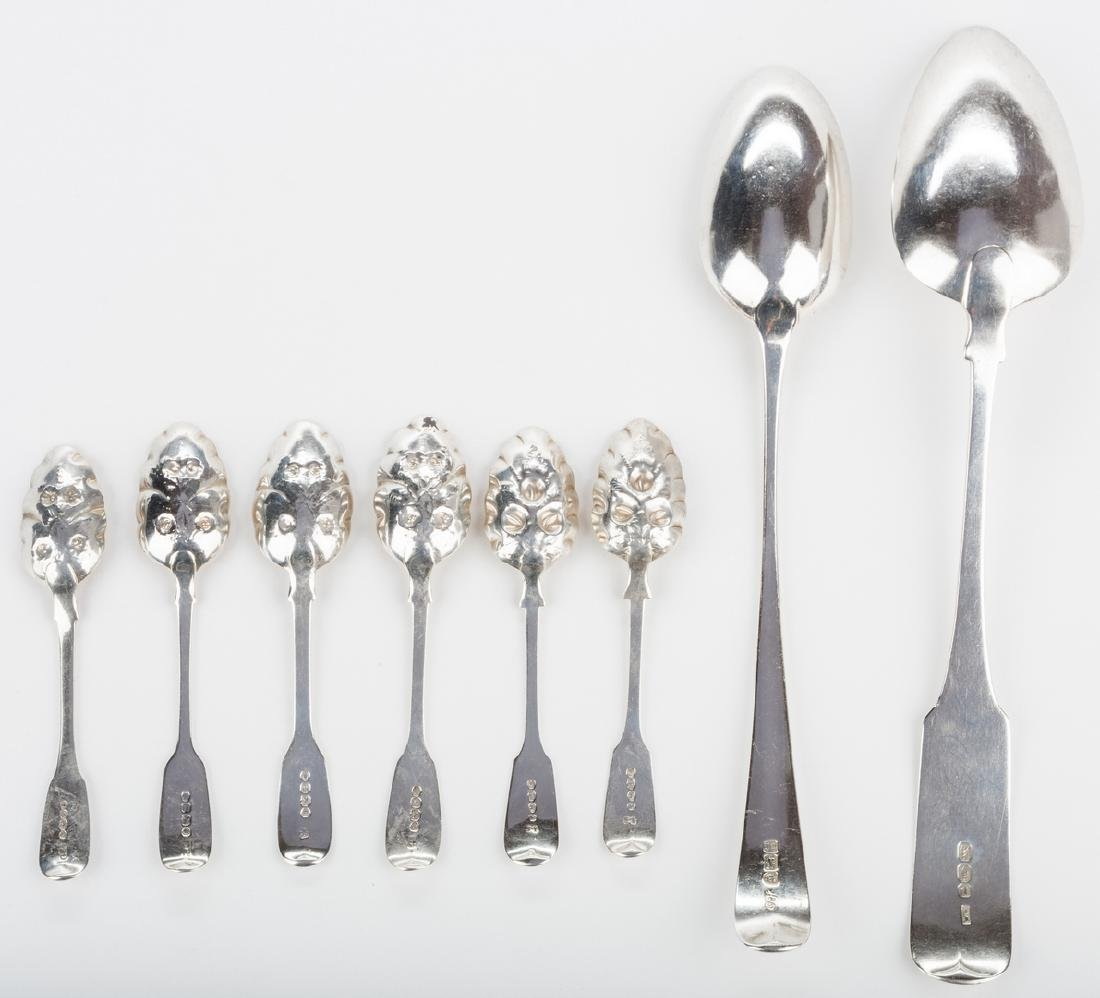 8 English silver spoons, inc. Hester Bateman - 3