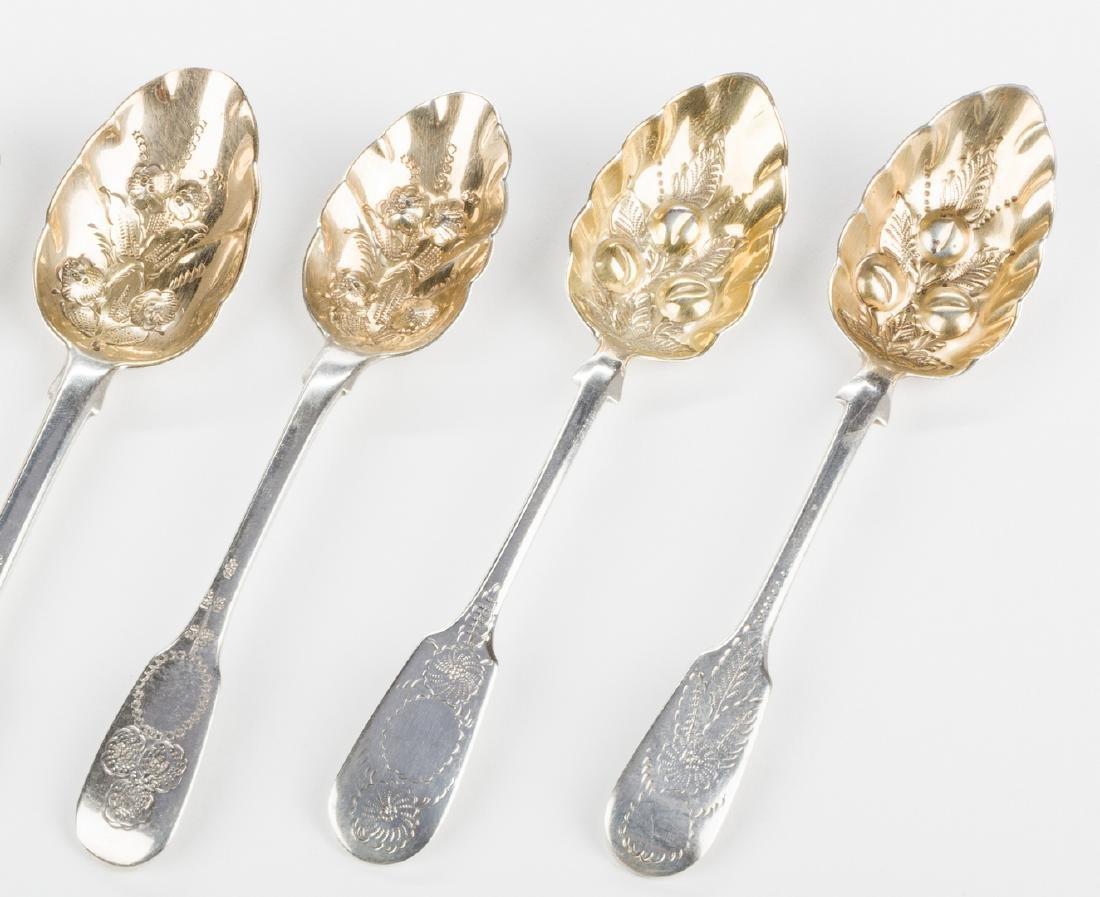 8 English silver spoons, inc. Hester Bateman - 7
