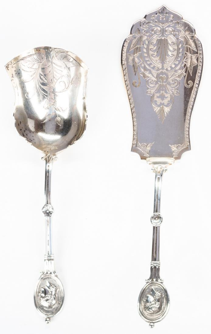 2 Silver Medallion Pattern Serving Pieces