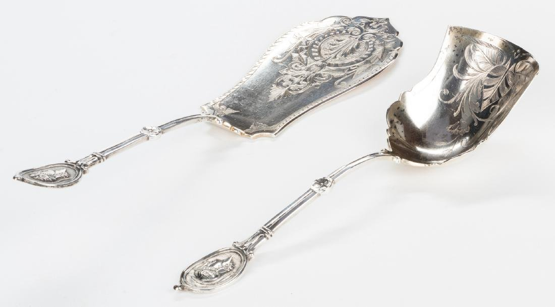 2 Silver Medallion Pattern Serving Pieces - 2