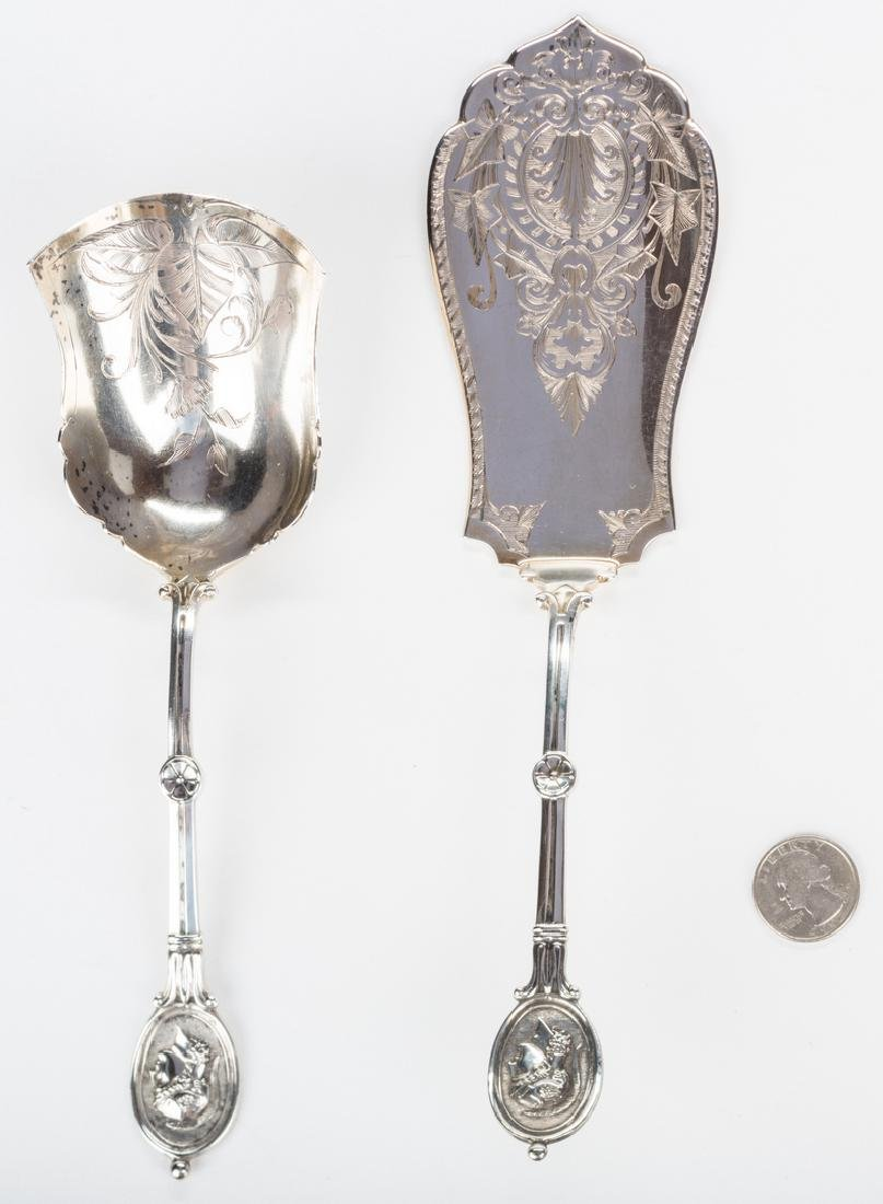 2 Silver Medallion Pattern Serving Pieces - 3