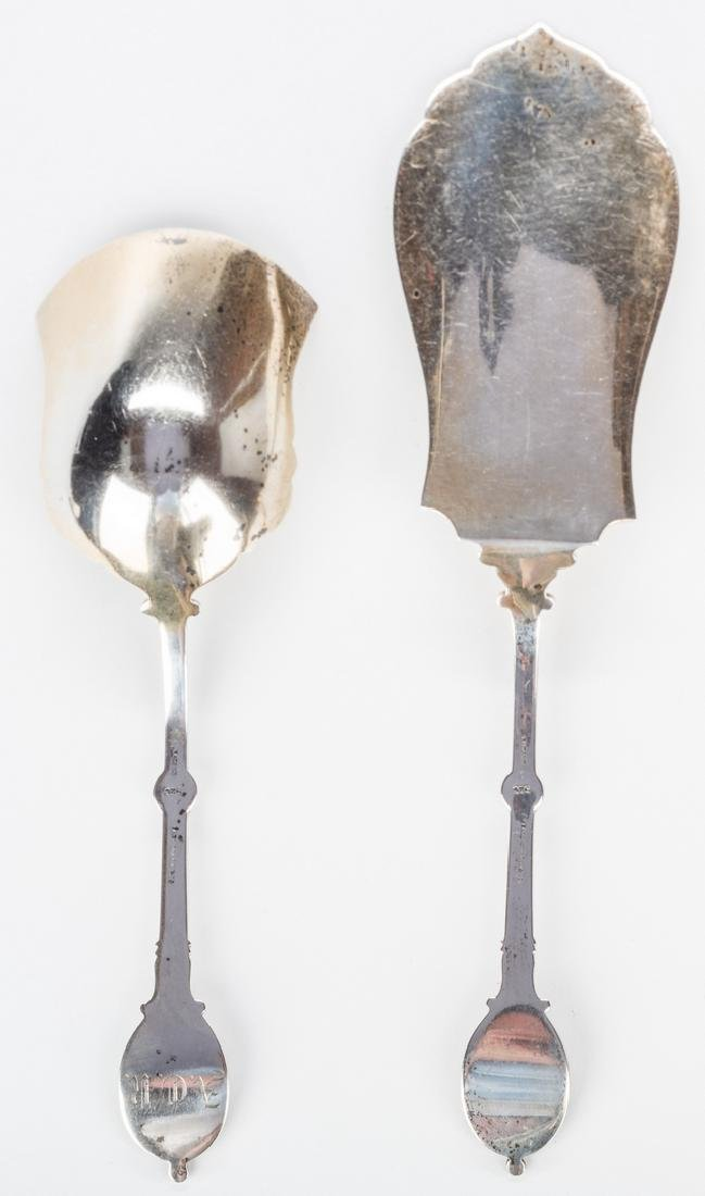 2 Silver Medallion Pattern Serving Pieces - 6