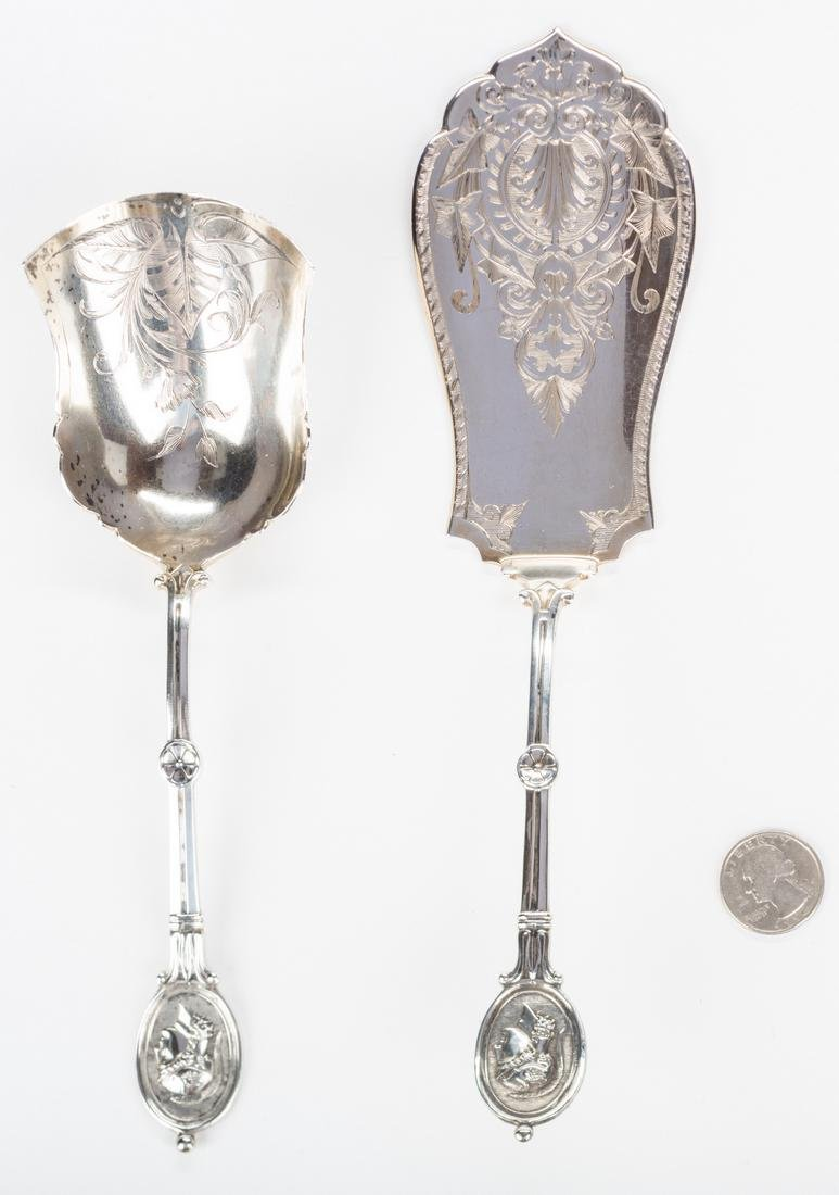 2 Silver Medallion Pattern Serving Pieces - 8