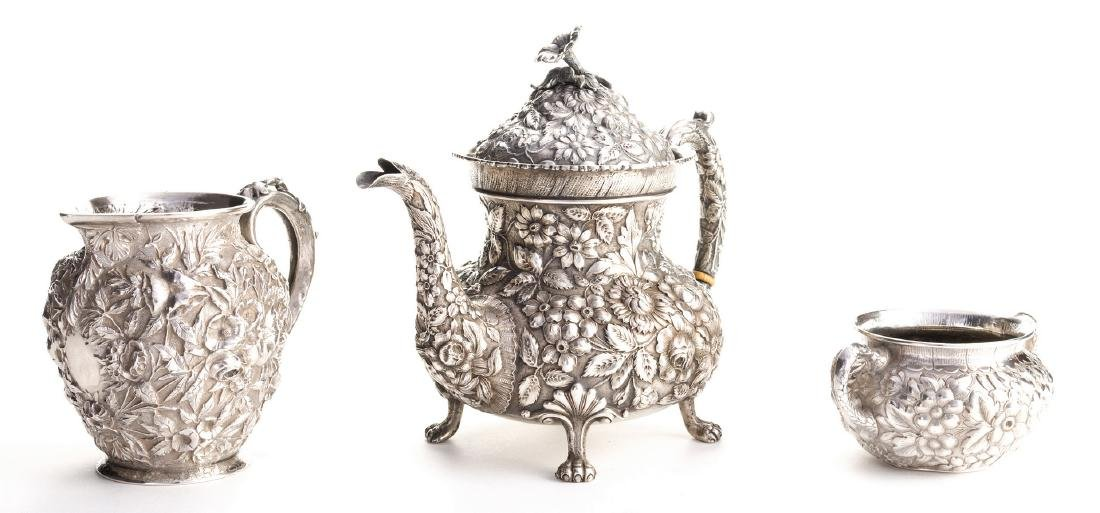 Antique Sterling Repousse, incl. Teapot, 3 pcs