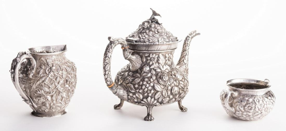 Antique Sterling Repousse, incl. Teapot, 3 pcs - 2