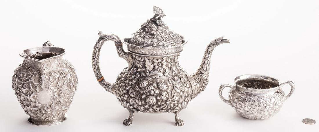 Antique Sterling Repousse, incl. Teapot, 3 pcs - 3