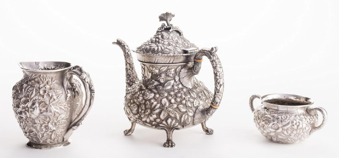 Antique Sterling Repousse, incl. Teapot, 3 pcs - 4